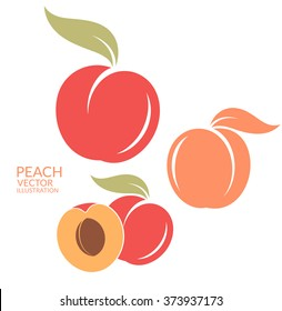 Peach. Set. Vector illustration. Isolated fruit on white background