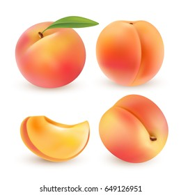 Peach. Sweet fruit. 3d vector icons set. Realistic illustration