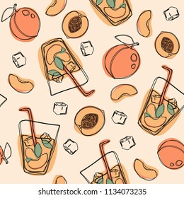 Peach tea or cocktail seamless pattern. Vector hand drawn illustration on isolated white background.