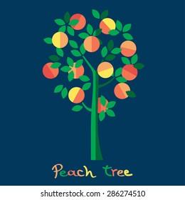 Peach tree. Juicy peach vector illustration.