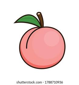 Peach vector. Peach heart vector. Peach on white background. Peach logo design.