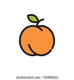 Peach. Vector icon