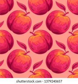 Peach vector seamless pattern. Summer fruit hands drawing background. Duo tone illustration. Template for design, wrapping paper, textile.