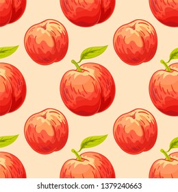 Peach vector seamless pattern. Summer fruit hands drawing background. Pastel colors. Template for design, wrapping paper, textile.