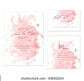 Peach watercolor wedding set. Beautiful and gentle background for wedding cards.