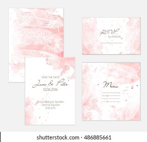 Peach watercolor wedding set with decorative feathers. Beautiful and gentle background for wedding cards.
