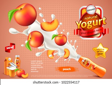 Peach yogurt ads. Bottle explosion. 3d illustration and packaging