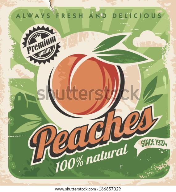 Peaches, vintage poster template. Retro design concept for fruit farm.