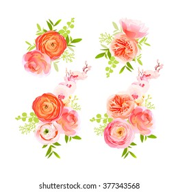 Peachy roses, ranunculus and exotic herbs bouquets vector design elements