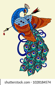 Peacock with an arrow in his chest, old school tattoo image