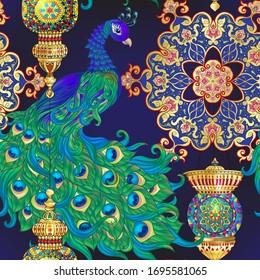 Peacock bird seamless pattern, background. On dark blue background..