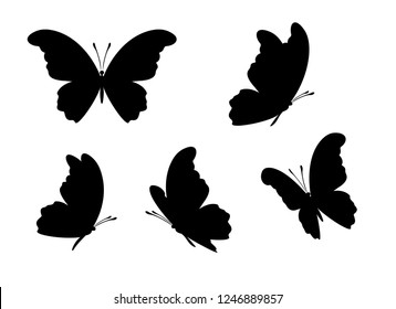 Peacock butterfly icons collection. Vector isolated silhouettes. Design elements.