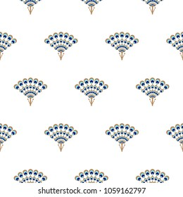 Peacock fan seamless vector pattern. Elegant minimal repeat texture.