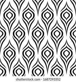 Peacock feather. Seamless pattern. Stylish floral texture. Abstract geometric background. Floral design for prints. Stylized ditzy ornament. Elegant black and white flowers. Bird plumage. Vector