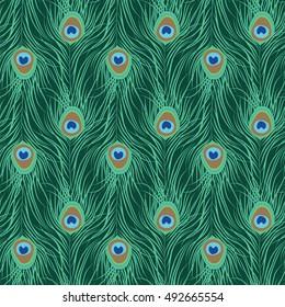 Peacock feather seamless pattern. Vector illustration