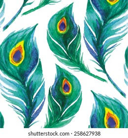 Peacock feather seamless pattern. Watercolor background. Vector illustration.