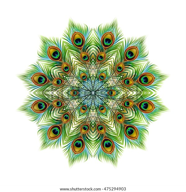 Peacock feathers background, mandala. Ornament beautiful card, bright illustration. Pattern kaleidoscope design, India. Vector illustration.