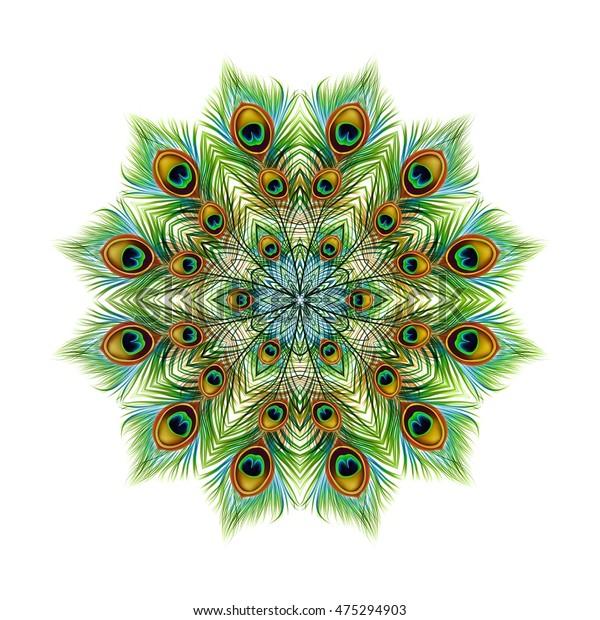 Peacock feathers background, mandala. Ornament beautiful card, bright illustration. Pattern kaleidoscope design, India. Vector illustration.