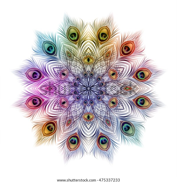 Peacock feathers background. mandala. Ornament beautiful card, abstract illustration. Pattern round design. Vector colorful wedding illustration.