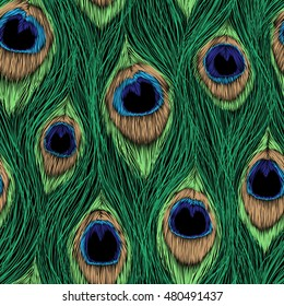 Peacock Feathers design. Vector seamless pattern.