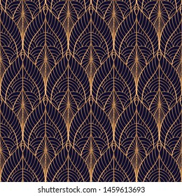 Peacock feathers floral royal pattern seamless. Gold black luxury background vector. Holiday design for christmas wrapping paper, beauty spa, new year wallpaper, birthday gift, wedding party.