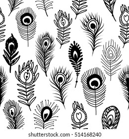 Peacock feathers, seamless pattern for your design