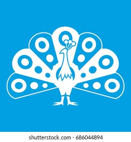 Peacock with flowing tail icon white isolated on blue background vector illustration