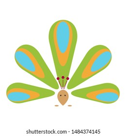 Peacock icon. Bird of paradise. Colorful symbol of feathers. Flat colorful element design. Vector illustration concept. Isolated logo of Peafowl. Sign pattern.