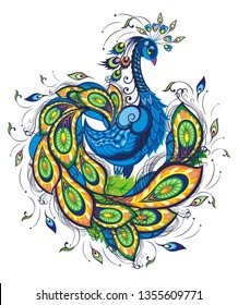 Peacock. Isolated background.Beautiful fantasy vector bird for wallpapers, web page backgrounds, surface textures, textile.
