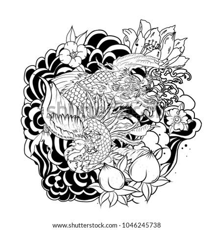 Peacock Koi Dragon Design Tattoo Japanese Dragon Stock Vector