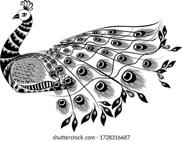 PEACOCK LINE ART DESIGN BLACK AND WHITE WITH FLOWER DESIGN