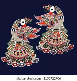 peacock madhubani art