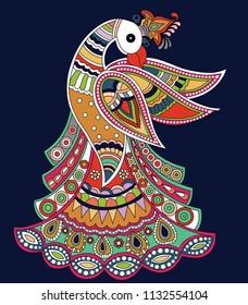 peacock madhubani art design