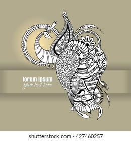 Peacock in the mehndi style. Floral bird with indian ornaments. Can be used for your design cards, invitations, wallpapers, web page backgrounds, surface textures.