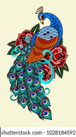 Peacock and roses, old school tattoo image