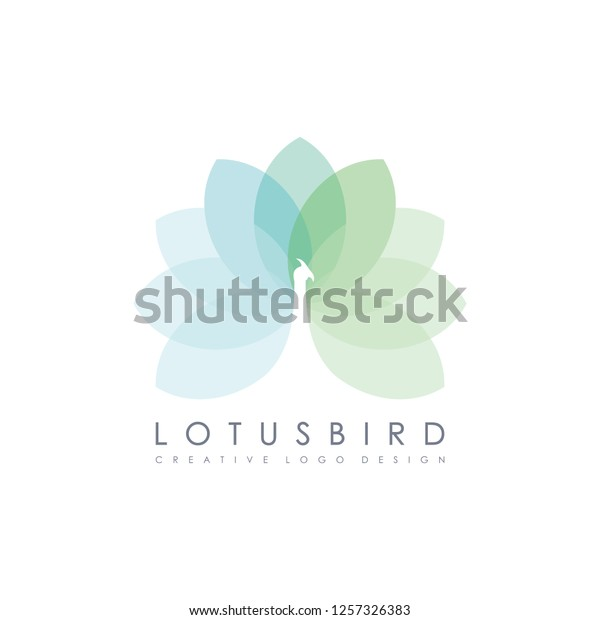 Peacock Silhouette Lotus Flower Wellness Spa Stock Vector Royalty