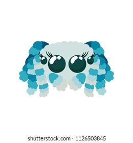 Peacock spider cute vector illustration in blue colors not scary friendly arachnid