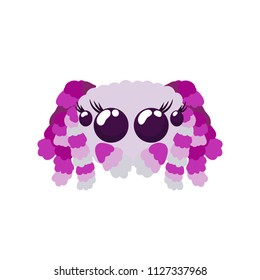 Peacock spider cute vector illustration in pink colors not scary friendly arachnid