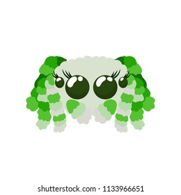Peacock spider cute vector illustration in green colors not scary friendly arachnid