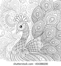 Peacock in zentangle style. Adult antistress coloring page. Black and white hand drawn doodle for coloring book