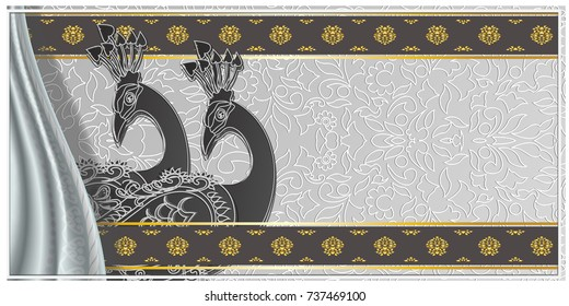 PeacockMenu Indian Wedding Invitation Card With Abstract Background Islam Hindu