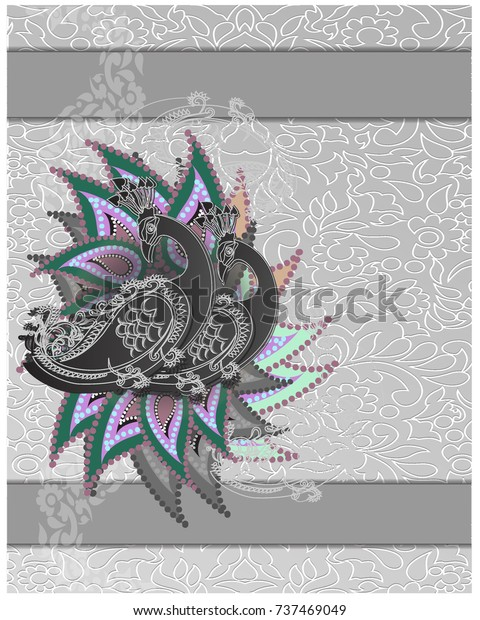 Peacockmenu Indian Wedding Invitation Card Abstract Stock