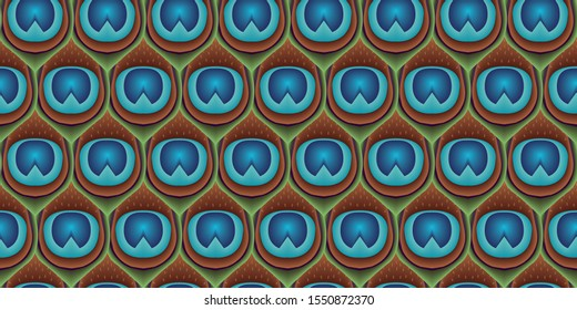 Peacocks feathers seamless vector pattern - geometrical hexagonal background - Peafowl feathers tileable print for textile or wrap paper.