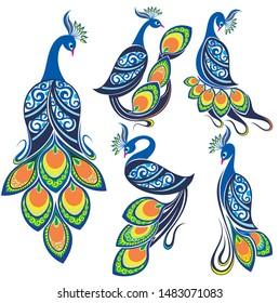 Peacocks. Peacock vector set. Bird logo