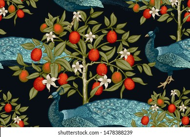 Peacocks and trees with flowers and kumquat fruits. Seamless vector background. Luxury pattern with exotic plants and birds. Vintage.