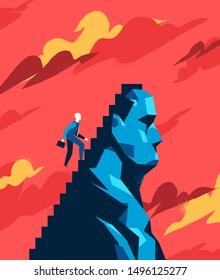 Peak conqueror. Concept of self challenge, personal growth. Vector illustration