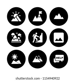 peak icon. 9 peak set with mountain, help, mountain range on black background and mountain summit vector icons for web and mobile app