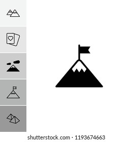 Peak icon. collection of 6 peak filled and outline icons such as mountain, flag on mountain. editable peak icons for web and mobile.