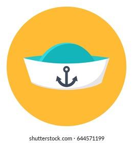 Peakless cap icon vector illustration. Ship Captain Cap. Sailor cap.