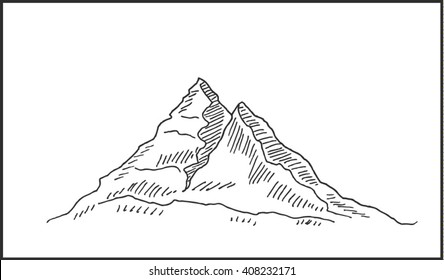 Peaky mountain landscape  sketch drawing, for outdoor and expedition travel design. Mountain peak scenery  vector illustration